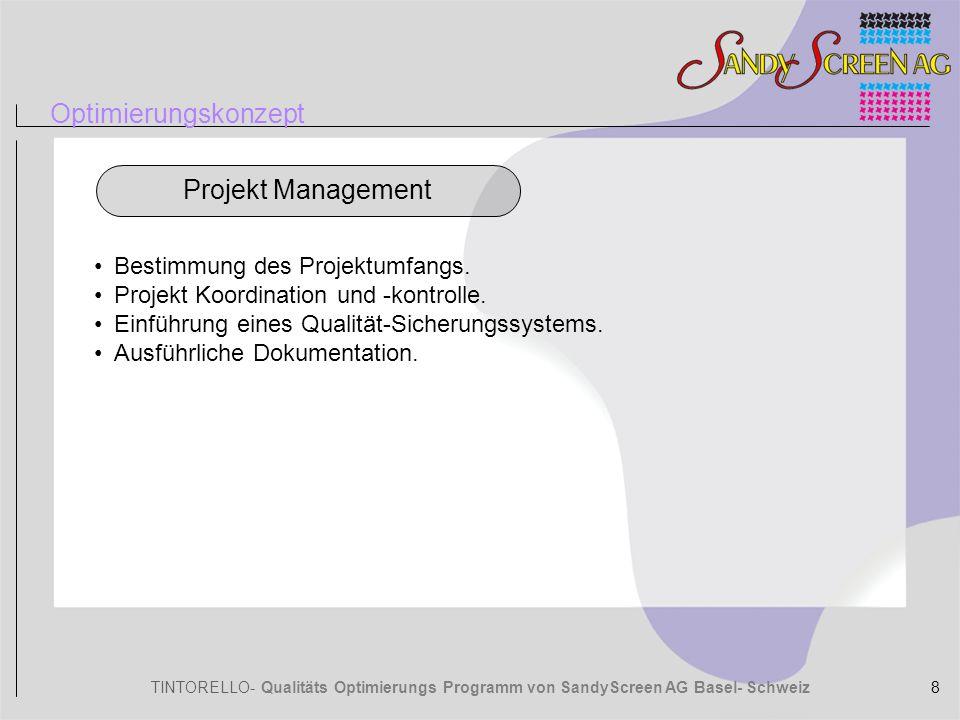 TINTORELLO- Qualitäts Optimierungs Programm von SandyScreen AG Basel- Schweiz Optimierungskonzept Bestimmung des Projektumfangs. Projekt Koordination