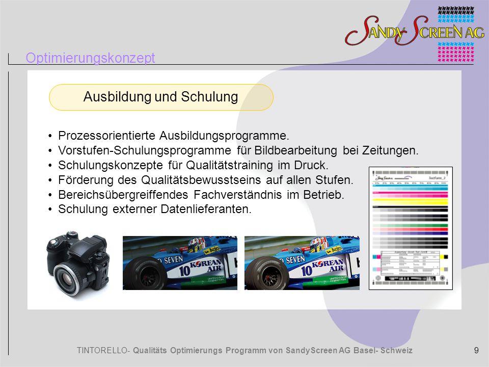 TINTORELLO- Qualitäts Optimierungs Programm von SandyScreen AG Basel- Schweiz Technologie SandyP Vergleiche Vorteile SandyP (Professional) 10