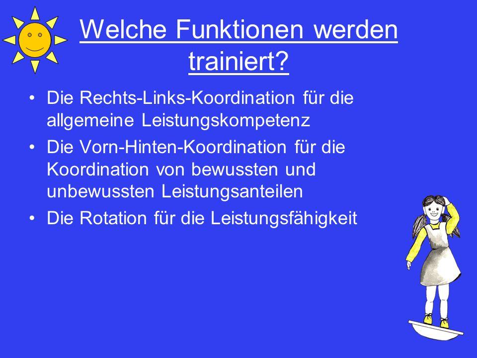Welche Funktionen werden trainiert? Die Rechts-Links-Koordination für die allgemeine Leistungskompetenz Die Vorn-Hinten-Koordination für die Koordinat