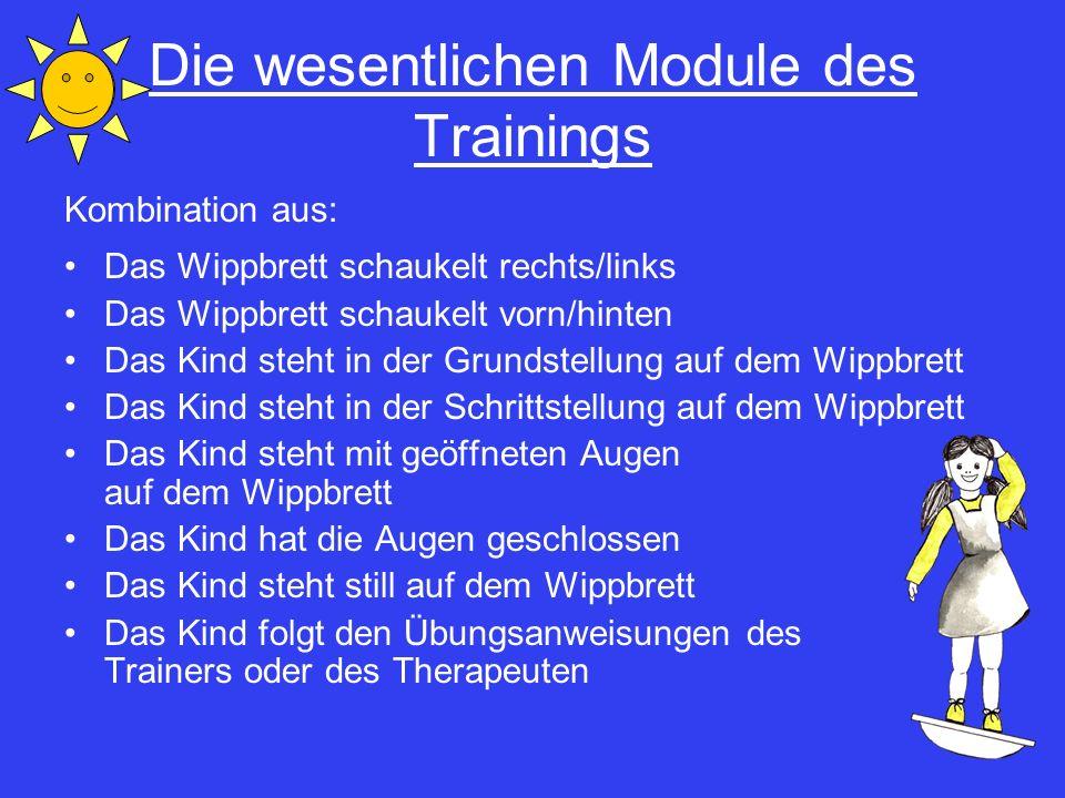 Die wesentlichen Module des Trainings Kombination aus: Das Wippbrett schaukelt rechts/links Das Wippbrett schaukelt vorn/hinten Das Kind steht in der