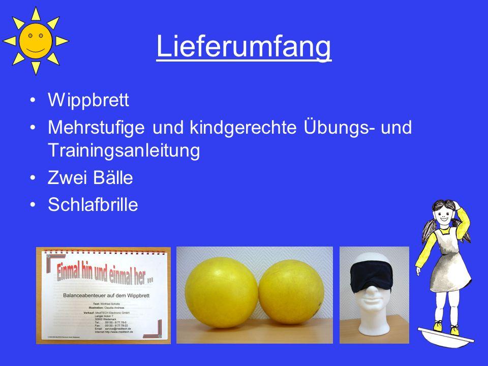 Lieferumfang Wippbrett Mehrstufige und kindgerechte Übungs- und Trainingsanleitung Zwei Bälle Schlafbrille