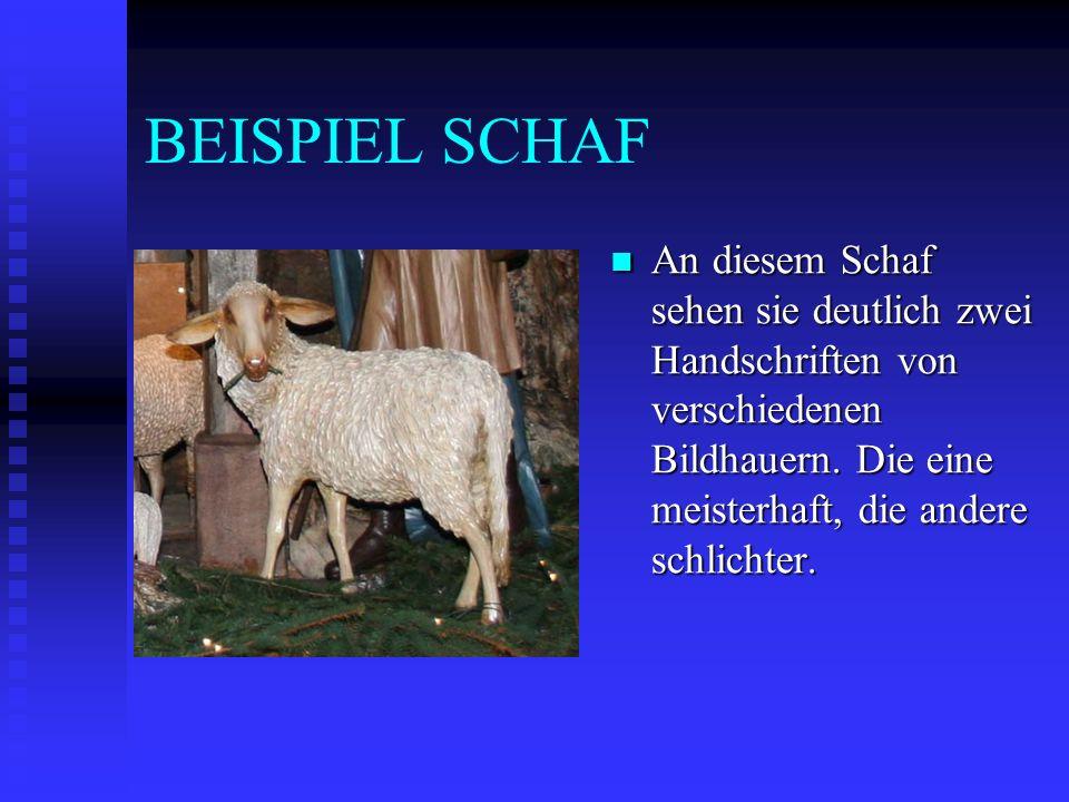 BEISPIEL SCHAF An diesem Schaf sehen sie deutlich zwei Handschriften von verschiedenen Bildhauern. Die eine meisterhaft, die andere schlichter.