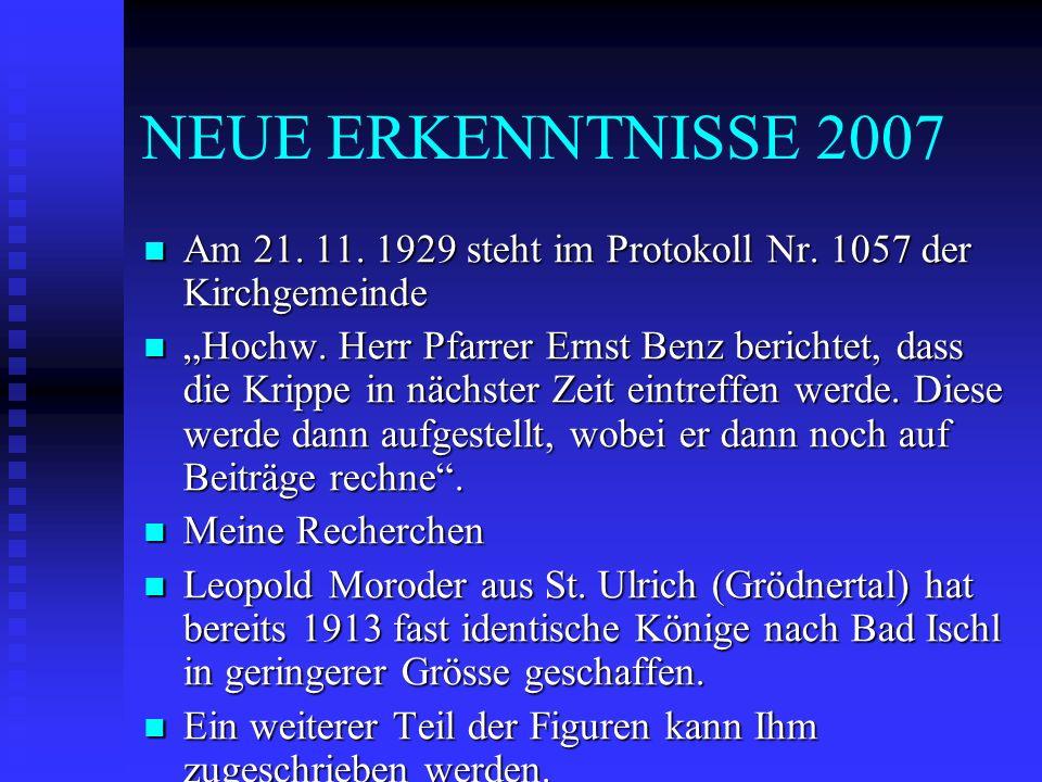 NEUE ERKENNTNISSE 2007 Am 21. 11. 1929 steht im Protokoll Nr. 1057 der Kirchgemeinde Am 21. 11. 1929 steht im Protokoll Nr. 1057 der Kirchgemeinde Hoc