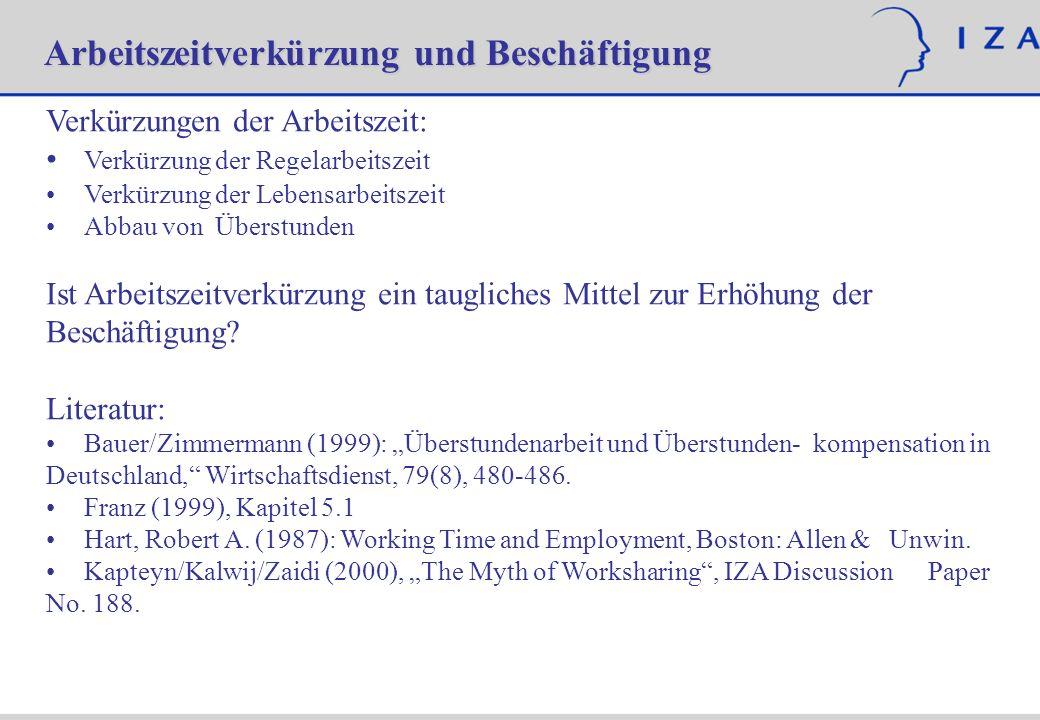 Verkürzungen der Arbeitszeit: Verkürzung der Regelarbeitszeit Verkürzung der Lebensarbeitszeit Abbau von Überstunden Ist Arbeitszeitverkürzung ein tau