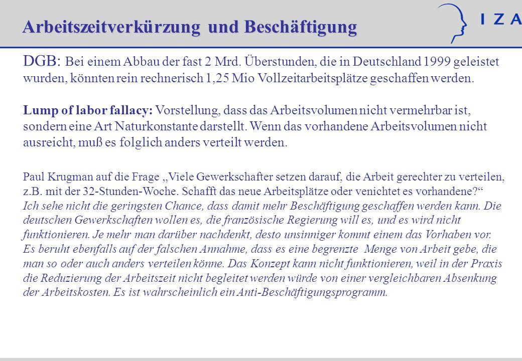 DGB: Bei einem Abbau der fast 2 Mrd. Überstunden, die in Deutschland 1999 geleistet wurden, könnten rein rechnerisch 1,25 Mio Vollzeitarbeitsplätze ge