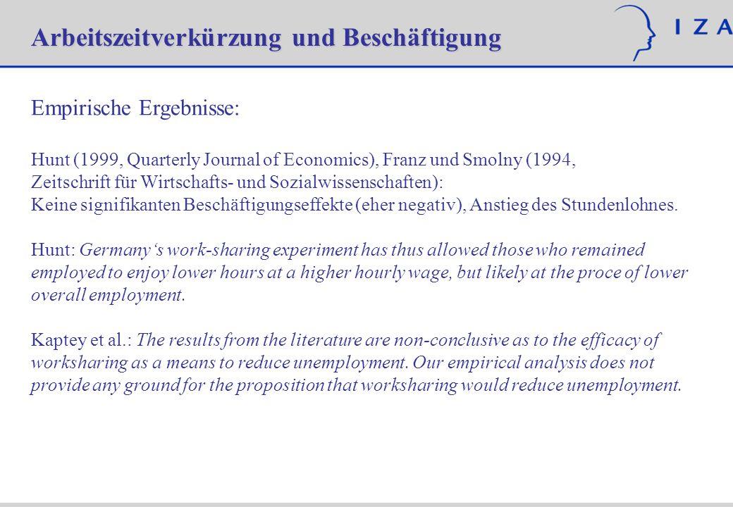 Empirische Ergebnisse: Hunt (1999, Quarterly Journal of Economics), Franz und Smolny (1994, Zeitschrift für Wirtschafts- und Sozialwissenschaften): Ke