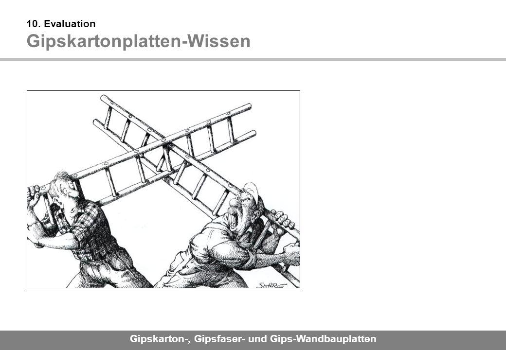 Gipskarton-, Gipsfaser- und Gips-Wandbauplatten 10. Evaluation Gipskartonplatten-Wissen