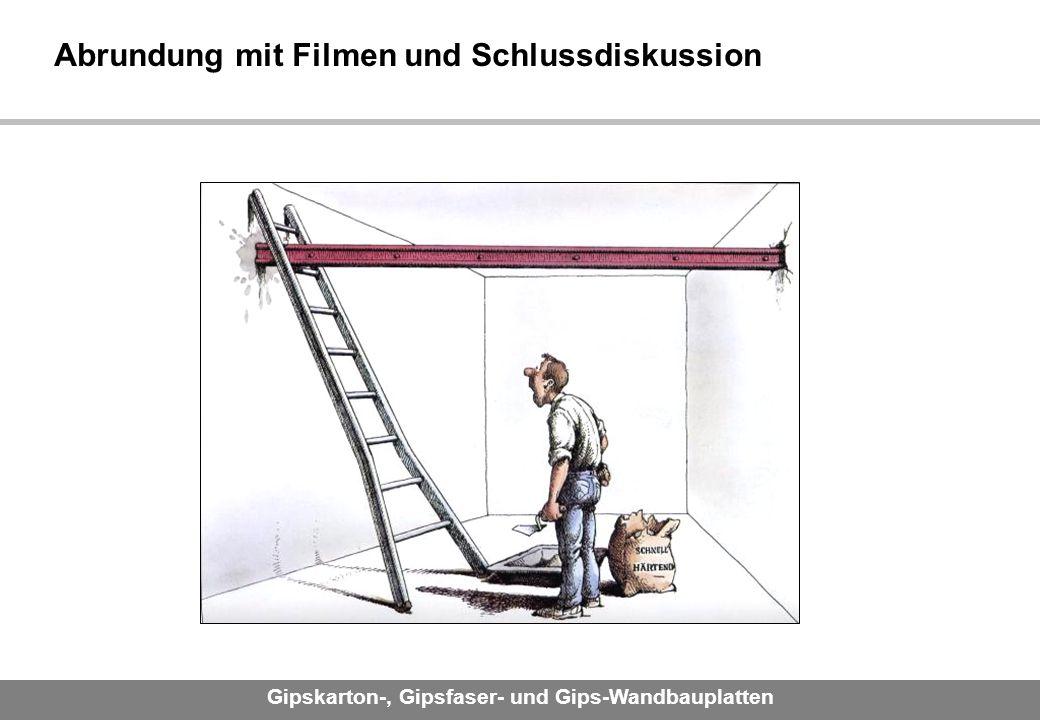 Gipskarton-, Gipsfaser- und Gips-Wandbauplatten Abrundung mit Filmen und Schlussdiskussion