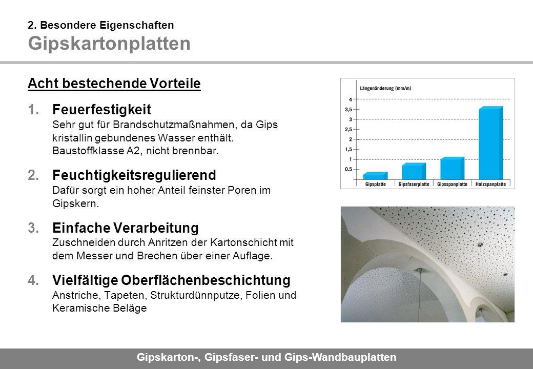Gipskarton-, Gipsfaser- und Gips-Wandbauplatten 2.