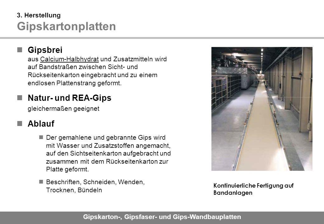 Gipskarton-, Gipsfaser- und Gips-Wandbauplatten 3.