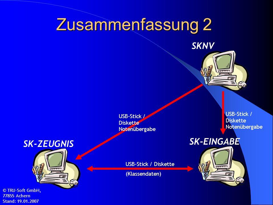 Zusammenfassung 2 © TRU-Soft GmbH, 77855 Achern Stand: 19.01.2007 SK-ZEUGNIS SK-EINGABE SKNV USB-Stick / Diskette (Klassendaten) USB-Stick / Diskette Notenübergabe