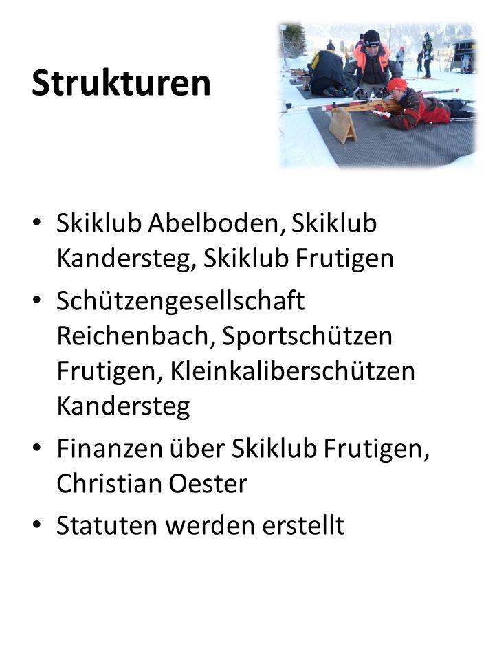 Strukturen Skiklub Abelboden, Skiklub Kandersteg, Skiklub Frutigen Schützengesellschaft Reichenbach, Sportschützen Frutigen, Kleinkaliberschützen Kand