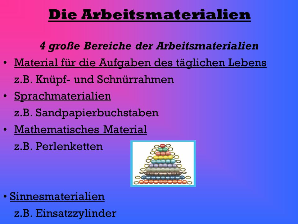 Die Arbeitsmaterialien 4 große Bereiche der Arbeitsmaterialien Material für die Aufgaben des täglichen Lebens z.B. Knüpf- und Schnürrahmen Sprachmater