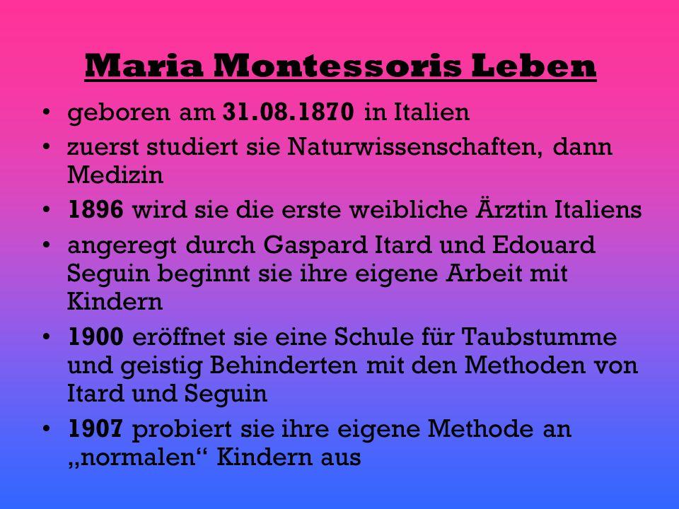 anschließend eröffnet sie ein Kinderhaus und erweitert ihre Erziehungsmethoden in weiteren Jahren kommt es zu mehreren Öffnung von neuen Schulen 1952 ist die Montessori-Pädagogik auf der ganzen Welt verbreitet Maria Montessori stirbt am 06.05.1952 in Holland