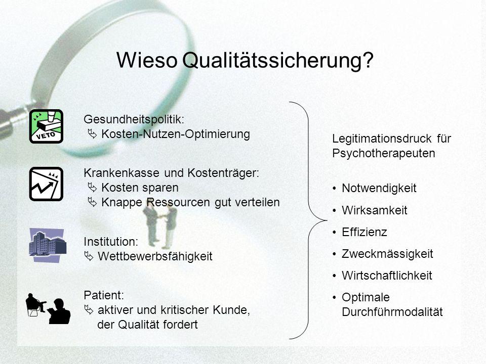 Wieso Qualitätssicherung? Institution: Wettbewerbsfähigkeit Krankenkasse und Kostenträger: Kosten sparen Knappe Ressourcen gut verteilen Gesundheitspo