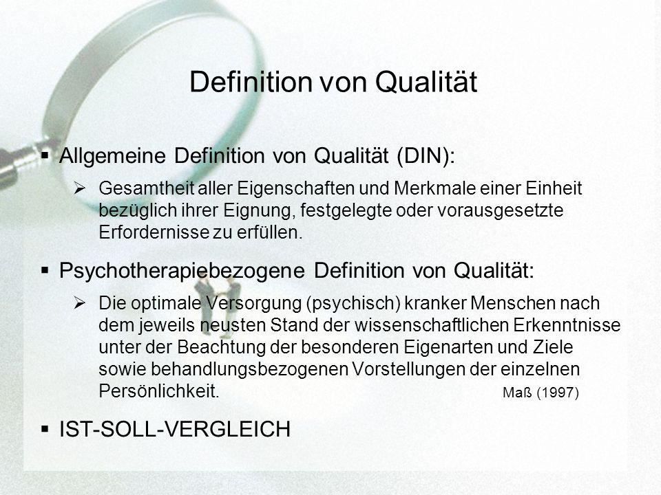Definition von Qualität Allgemeine Definition von Qualität (DIN): Gesamtheit aller Eigenschaften und Merkmale einer Einheit bezüglich ihrer Eignung, festgelegte oder vorausgesetzte Erfordernisse zu erfüllen.