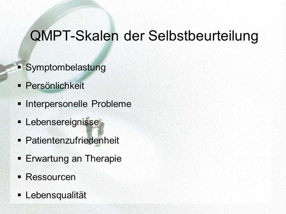 QMPT-Skalen der Selbstbeurteilung Symptombelastung Persönlichkeit Interpersonelle Probleme Lebensereignisse Patientenzufriedenheit Erwartung an Therapie Ressourcen Lebensqualität