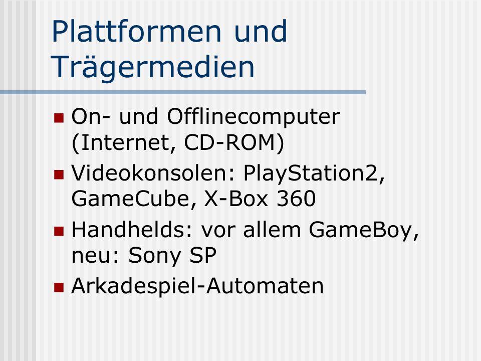 Plattformen und Trägermedien On- und Offlinecomputer (Internet, CD-ROM) Videokonsolen: PlayStation2, GameCube, X-Box 360 Handhelds: vor allem GameBoy,