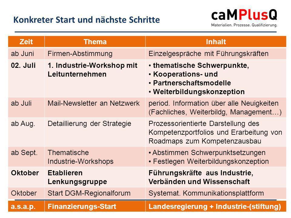 20.02.2014 - Folie 11www.caMPlusQ.de Konkreter Start und nächste Schritte ZeitThemaInhalt ab JuniFirmen-AbstimmungEinzelgespräche mit Führungskräften 02.