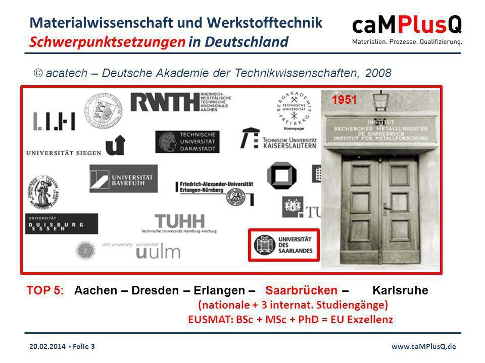 20.02.2014 - Folie 3www.caMPlusQ.de Materialwissenschaft und Werkstofftechnik Schwerpunktsetzungen in Deutschland TOP 5: Aachen – Dresden – Erlangen – Saarbrücken – Karlsruhe (nationale + 3 internat.