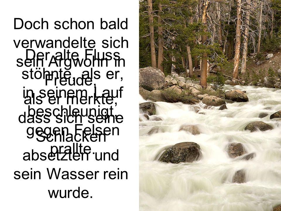 Der alte Fluss stöhnte, als er, in seinem Lauf beschleunigt, gegen Felsen prallte.