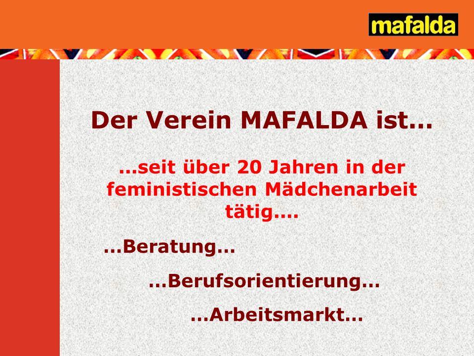 Der Verein MAFALDA ist......seit über 20 Jahren in der feministischen Mädchenarbeit tätig.... …Beratung… …Arbeitsmarkt… …Berufsorientierung…