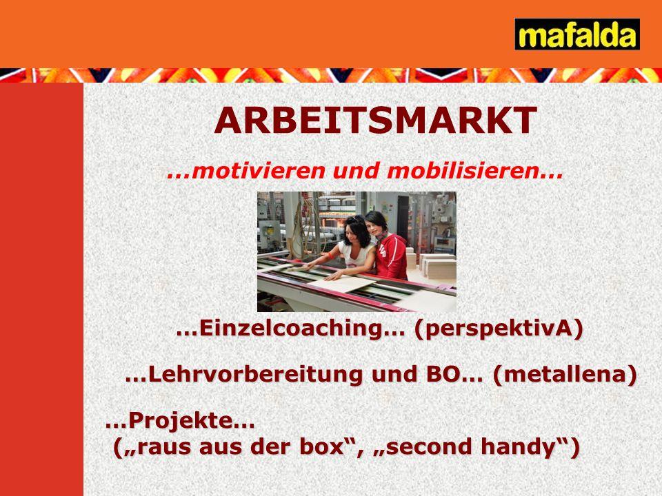...motivieren und mobilisieren... …Einzelcoaching… (perspektivA) …Lehrvorbereitung und BO… (metallena) ARBEITSMARKT …Projekte… (raus aus der box, seco