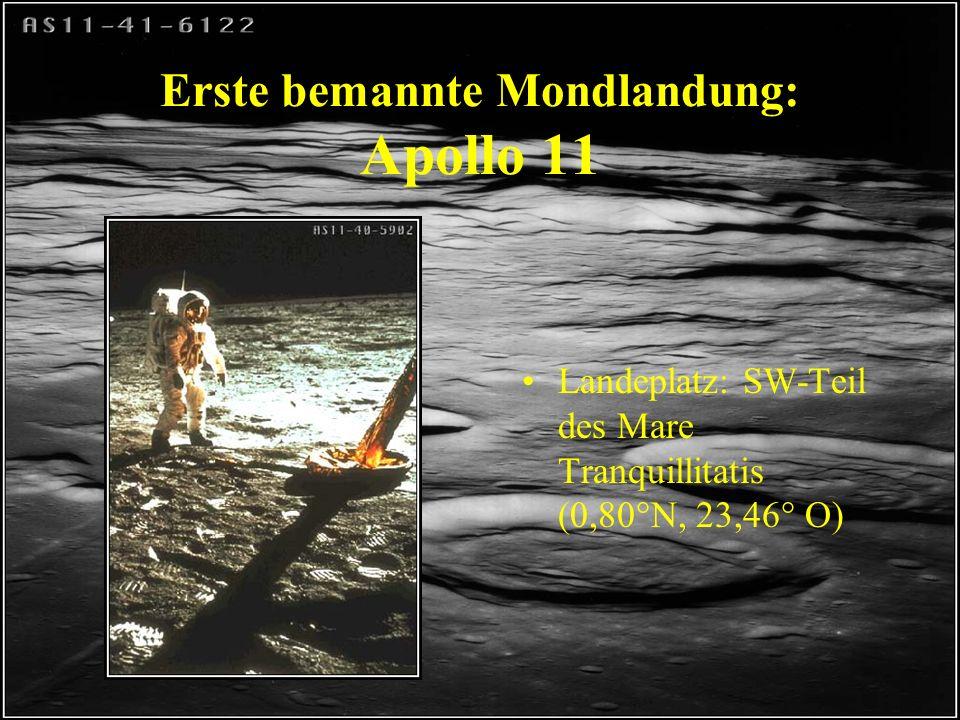 Erste bemannte Mondlandung: Apollo 11 Astronauten : –Armstrong –Aldrin –Collins 16.-24.7.1969