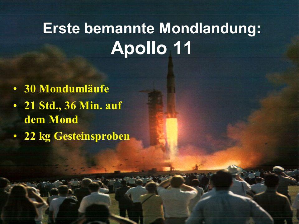 Erste bemannte Mondlandung: Apollo 11 Landeplatz: SW-Teil des Mare Tranquillitatis (0,80°N, 23,46° O)