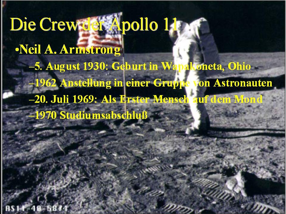 Erste bemannte Mondlandung: Apollo 11 30 Mondumläufe 21 Std., 36 Min. auf dem Mond 22 kg Gesteinsproben