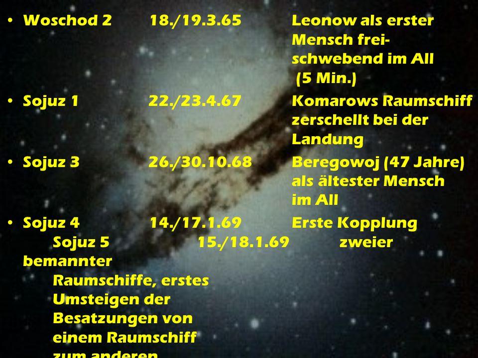 Woschod 218./19.3.65Leonow als erster Mensch frei- schwebend im All (5 Min.) Sojuz 122./23.4.67Komarows Raumschiff zerschellt bei der Landung Sojuz 326./30.10.68Beregowoj (47 Jahre) als ältester Mensch im All Sojuz 414./17.1.69Erste Kopplung Sojuz 515./18.1.69zweier bemannter Raumschiffe, erstes Umsteigen der Besatzungen von einem Raumschiff zum anderen
