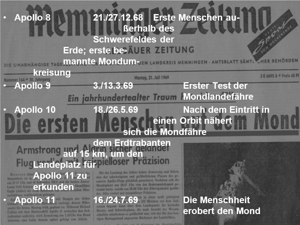 Gemini 43./7.6.65Erster Ausstieg im All Gemini 521./29.8.65Sehr langer Raumflug Gemini 615./16.12.65Annäherung an Gemini 7 bis auf 30 cm Gemini 74./18