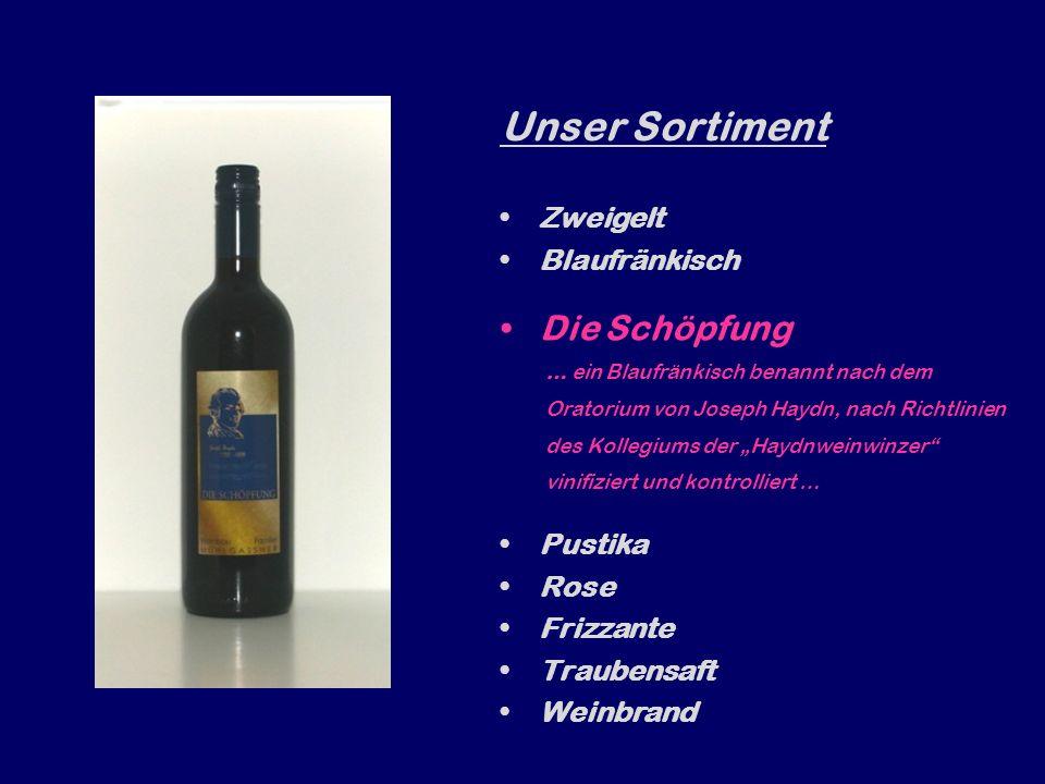 Unser Sortiment Zweigelt Blaufränkisch … der tanninreich Gehaltvolle … Die Schöpfung Pustika Rose Frizzante Traubensaft Weinbrand