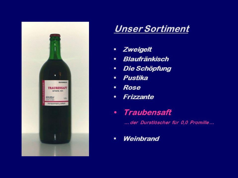 Unser Sortiment Zweigelt Blaufränkisch Die Schöpfung Pustika Rose Frizzante … für alle, dies gern prickelnd wollen… Traubensaft Weinbrand