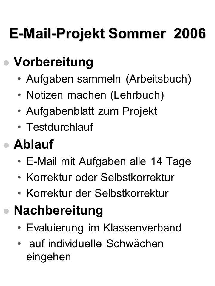 E-Mail-Projekt Sommer 2006 l Vorbereitung Aufgaben sammeln (Arbeitsbuch) Notizen machen (Lehrbuch) Aufgabenblatt zum Projekt Testdurchlauf l Ablauf E-
