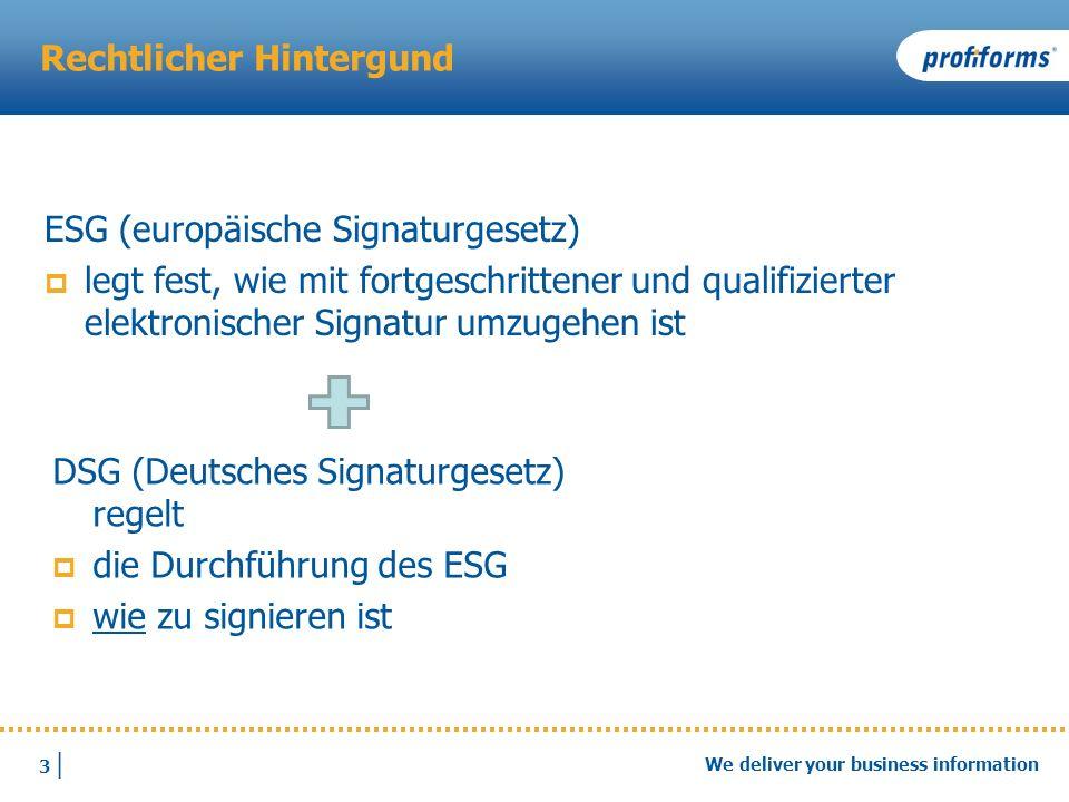 3 |3 | We deliver your business information Rechtlicher Hintergund ESG (europäische Signaturgesetz) legt fest, wie mit fortgeschrittener und qualifizi