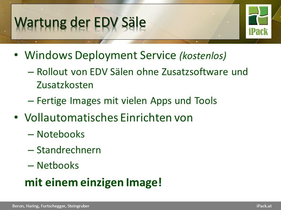Beron, Haring, Furtschegger, SteingruberiPack.at Windows Deployment Service (kostenlos) – Rollout von EDV Sälen ohne Zusatzsoftware und Zusatzkosten –