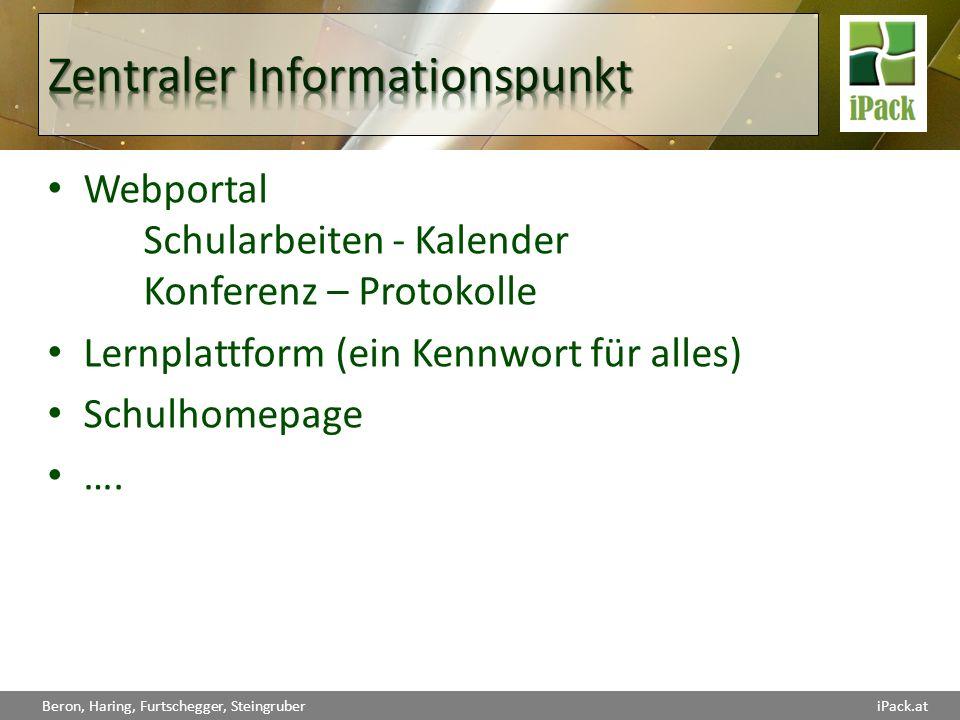 Webportal Schularbeiten - Kalender Konferenz – Protokolle Lernplattform(ein Kennwort für alles) Schulhomepage ….