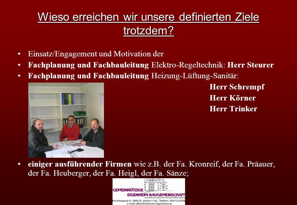 Wieso erreichen wir unsere definierten Ziele trotzdem? Einsatz/Engagement und Motivation der Fachplanung und Fachbauleitung Elektro-Regeltechnik: Herr
