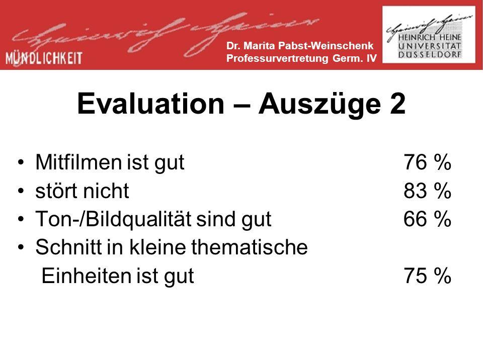 Evaluation – Auszüge 2 Mitfilmen ist gut76 % stört nicht83 % Ton-/Bildqualität sind gut66 % Schnitt in kleine thematische Einheiten ist gut75 % Dr.