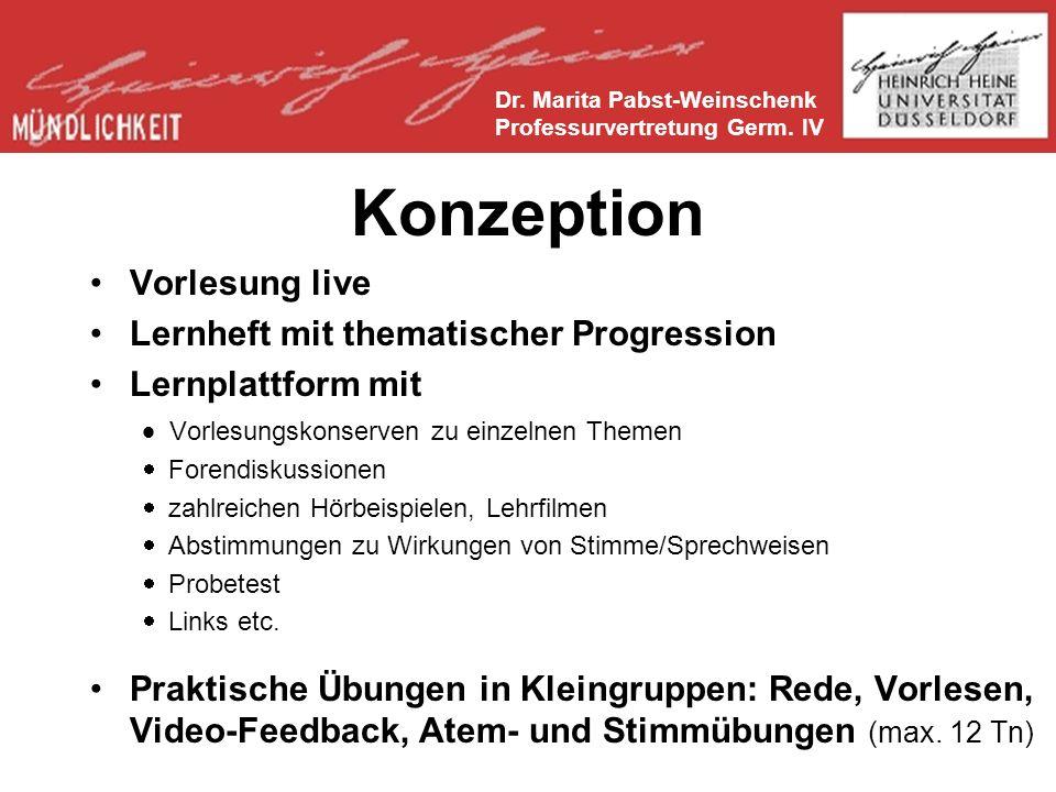 Konzeption Vorlesung live Lernheft mit thematischer Progression Lernplattform mit Vorlesungskonserven zu einzelnen Themen Forendiskussionen zahlreichen Hörbeispielen, Lehrfilmen Abstimmungen zu Wirkungen von Stimme/Sprechweisen Probetest Links etc.
