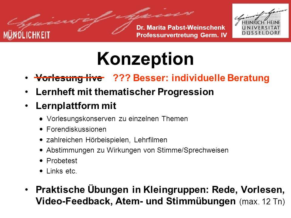 Literatur zum Thema und Konzept Dr.Marita Pabst-Weinschenk Professurvertretung Germ.