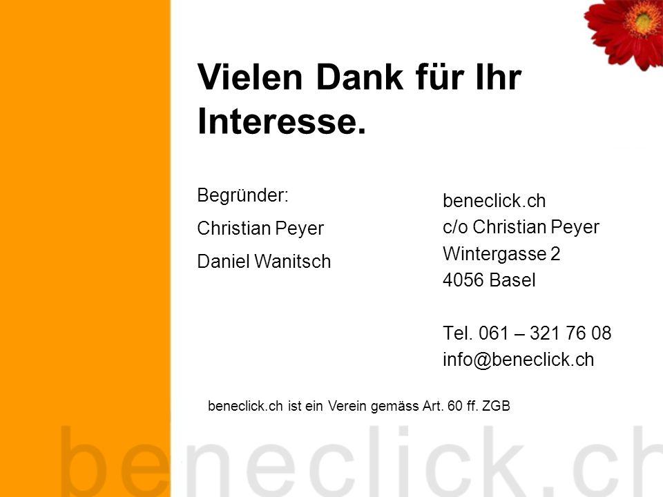 beneclick.ch c/o Christian Peyer Wintergasse 2 4056 Basel Tel.