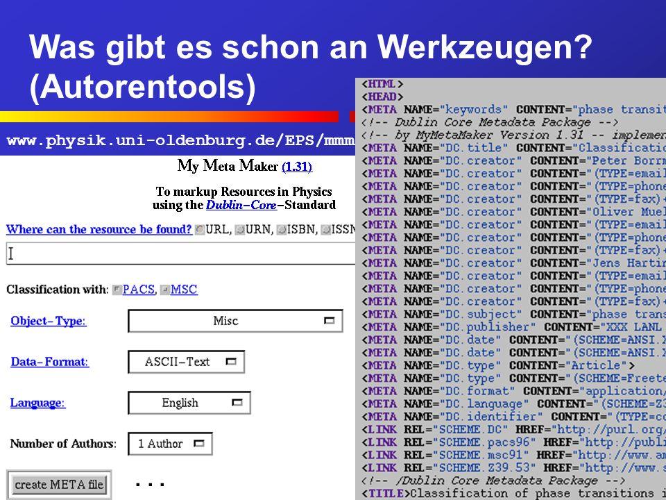 Was gibt es schon an Werkzeugen. (Autorentools) Berlin, 7.7.200020...