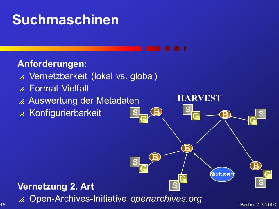 Suchmaschinen Berlin, 7.7.200036 Anforderungen: Vernetzbarkeit (lokal vs.