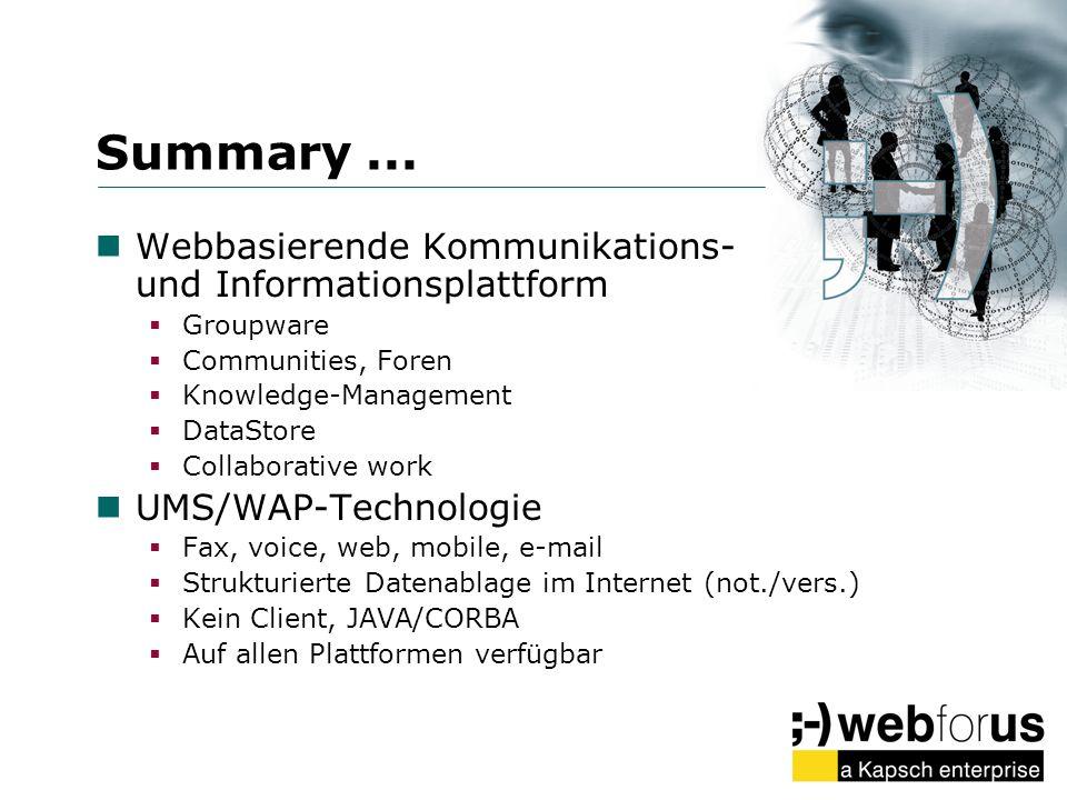Summary... Webbasierende Kommunikations- und Informationsplattform Groupware Communities, Foren Knowledge-Management DataStore Collaborative work UMS/