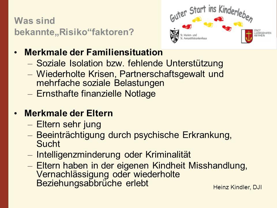 Was sind bekannteRisikofaktoren? Merkmale der Familiensituation – Soziale Isolation bzw. fehlende Unterstützung – Wiederholte Krisen, Partnerschaftsge