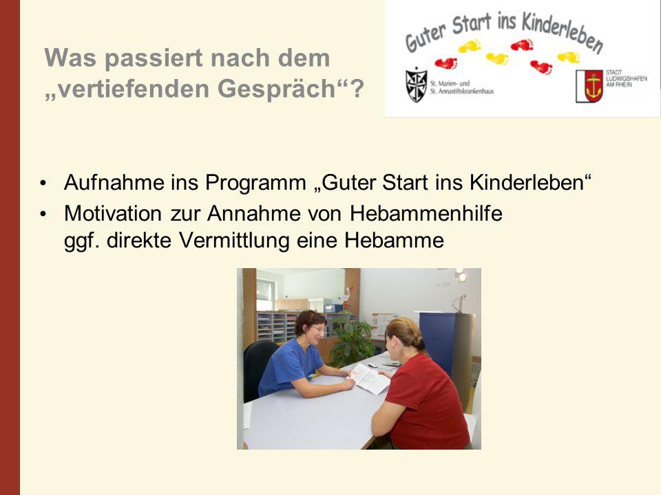Was passiert nach dem vertiefenden Gespräch? Aufnahme ins Programm Guter Start ins Kinderleben Motivation zur Annahme von Hebammenhilfe ggf. direkte V