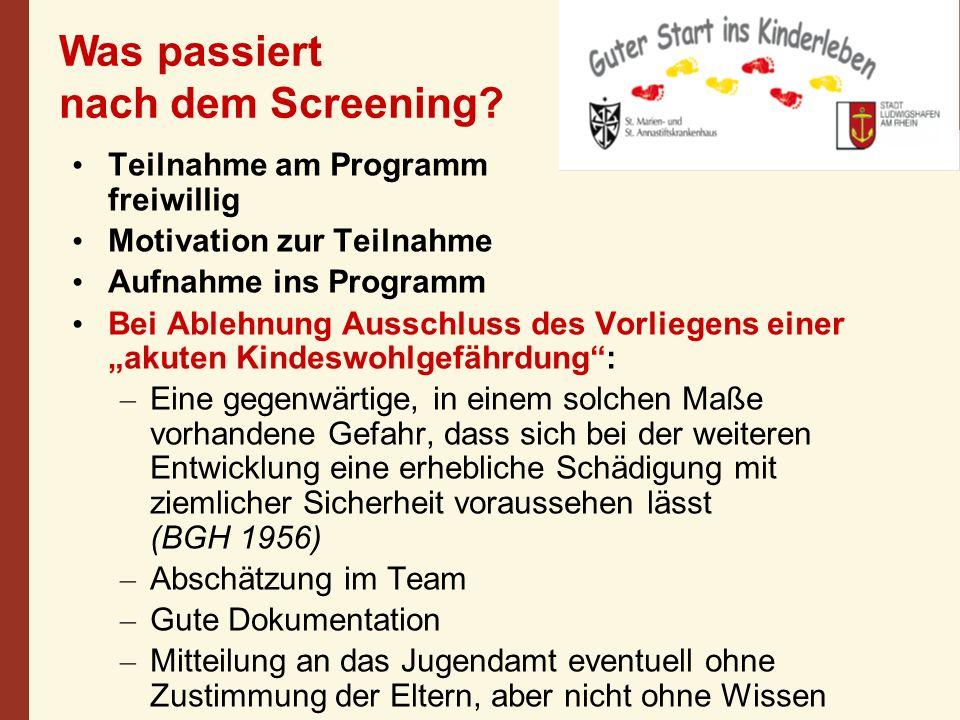 Was passiert nach dem Screening? Teilnahme am Programm freiwillig Motivation zur Teilnahme Aufnahme ins Programm Bei Ablehnung Ausschluss des Vorliege
