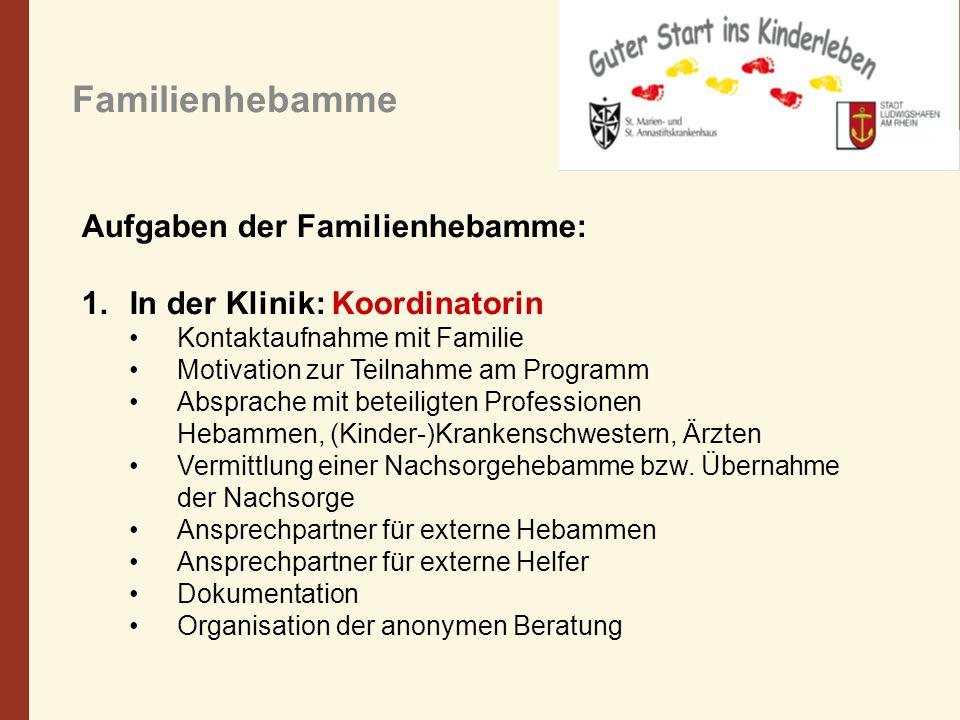 Familienhebamme Aufgaben der Familienhebamme: 1.In der Klinik: Koordinatorin Kontaktaufnahme mit Familie Motivation zur Teilnahme am Programm Absprach